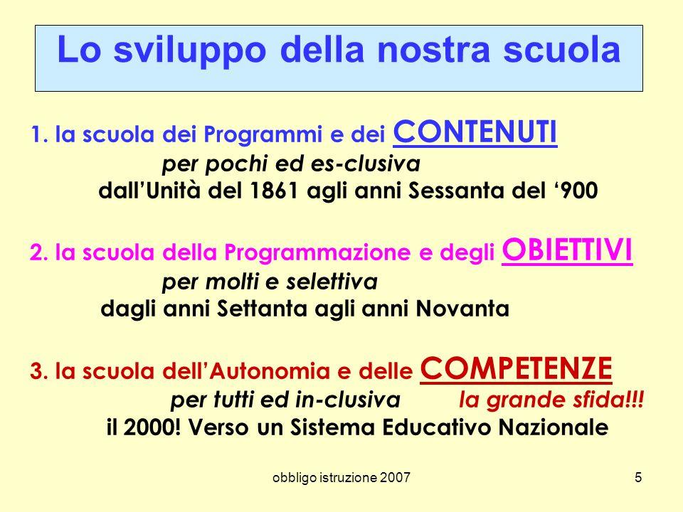 obbligo istruzione 20075 1. la scuola dei Programmi e dei CONTENUTI per pochi ed es-clusiva dallUnità del 1861 agli anni Sessanta del 900 2. la scuola