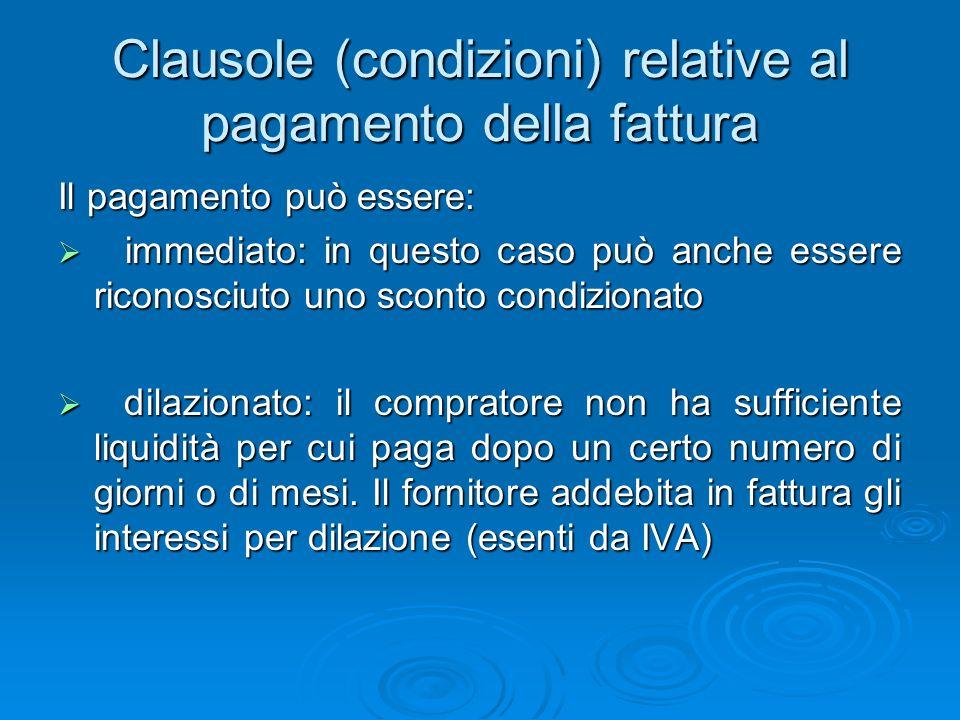 Clausole (condizioni) relative allimballaggio Limballaggio può essere: a perdere: senza restituzione da parte del compratore ma addebitato in fattura