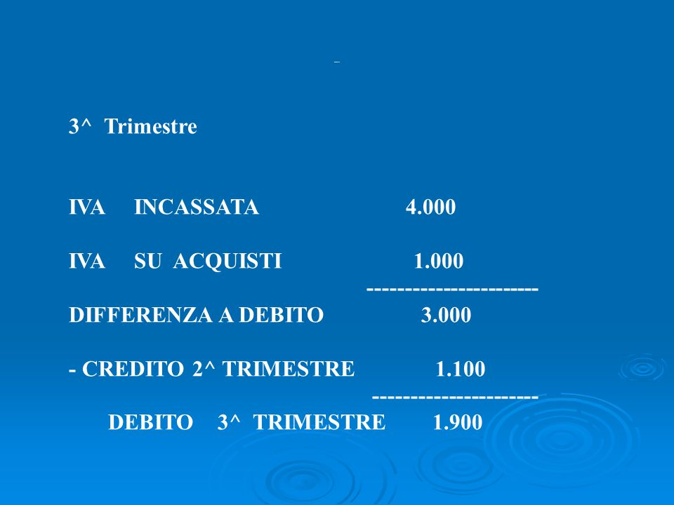 2^ Trimestre IVA INCASSATA 1.000 IVA SU ACQUISTI 600 ----------------------- DIFFERENZA A DEBITO 400 - CREDITO 1^ TRIMESTRE 1.500 --------------------
