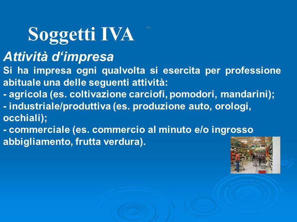 Soggetti IVA Esercizio di Arti e Professioni Esercizio per professione abituale di qualsiasi attività di lavoro autonomo (intellettuale - per es. inge