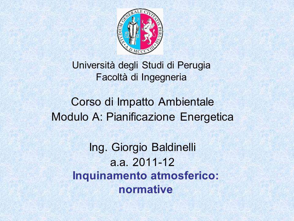 Università degli Studi di Perugia Facoltà di Ingegneria Inquinamento atmosferico: normative Corso di Impatto Ambientale Modulo A: Pianificazione Energ