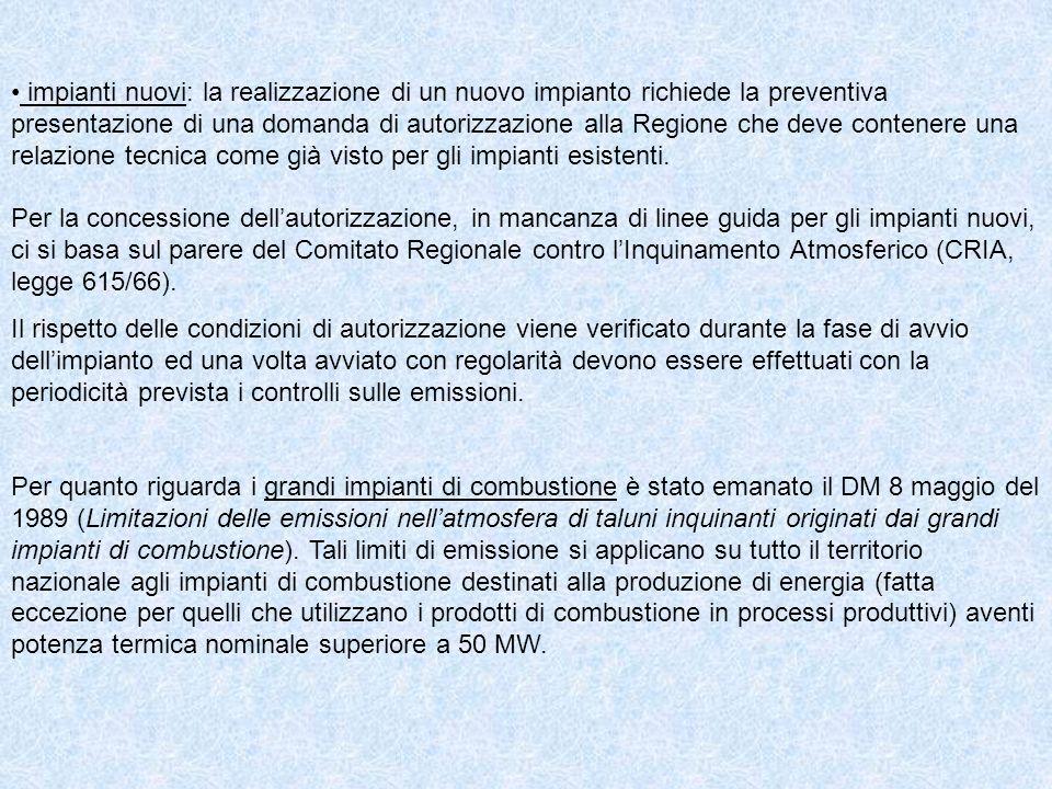 impianti nuovi: la realizzazione di un nuovo impianto richiede la preventiva presentazione di una domanda di autorizzazione alla Regione che deve cont