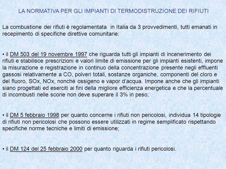 LA NORMATIVA PER GLI IMPIANTI DI TERMODISTRUZIONE DEI RIFIUTI La combustione dei rifiuti è regolamentata in Italia da 3 provvedimenti, tutti emanati i