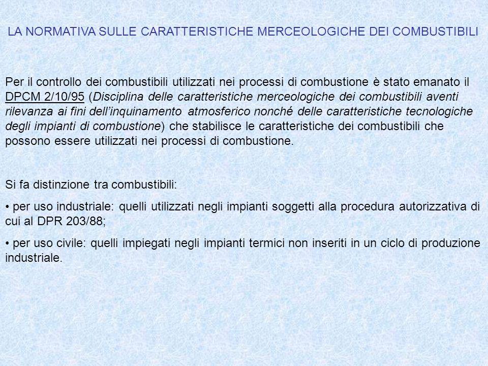LA NORMATIVA SULLE CARATTERISTICHE MERCEOLOGICHE DEI COMBUSTIBILI Per il controllo dei combustibili utilizzati nei processi di combustione è stato ema