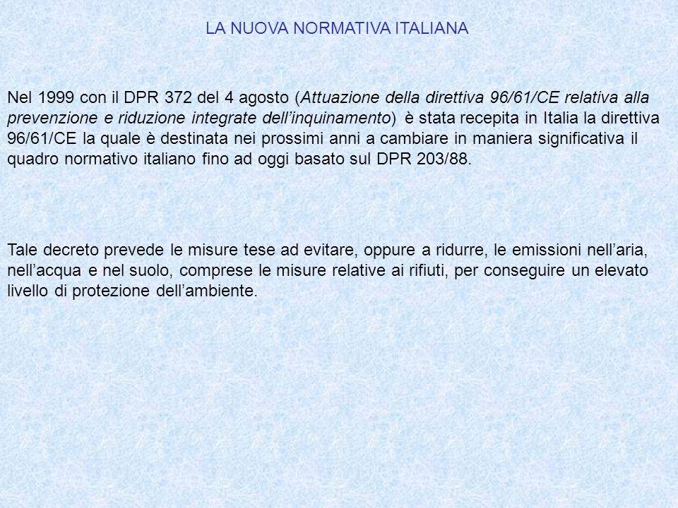 LA NUOVA NORMATIVA ITALIANA Nel 1999 con il DPR 372 del 4 agosto (Attuazione della direttiva 96/61/CE relativa alla prevenzione e riduzione integrate