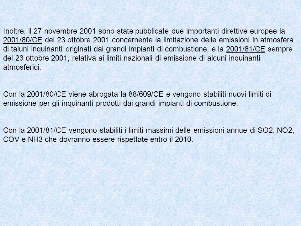 Inoltre, il 27 novembre 2001 sono state pubblicate due importanti direttive europee la 2001/80/CE del 23 ottobre 2001 concernente la limitazione delle
