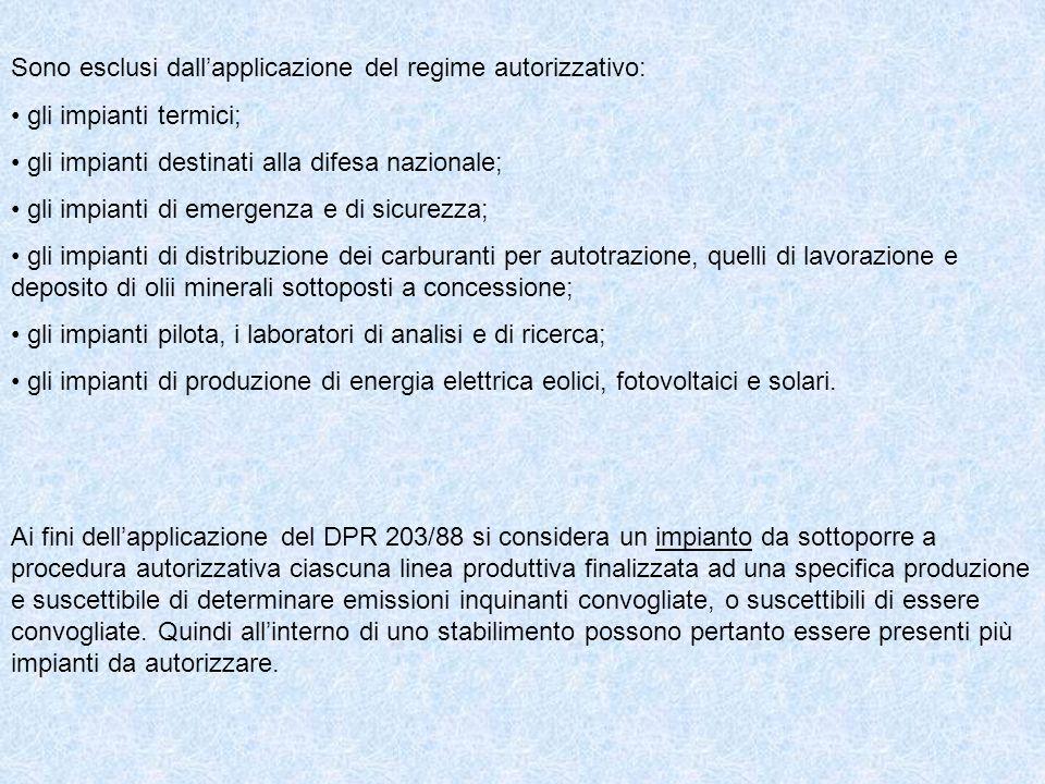 Ai fini dellapplicazione del DPR 203/88 si considera un impianto da sottoporre a procedura autorizzativa ciascuna linea produttiva finalizzata ad una