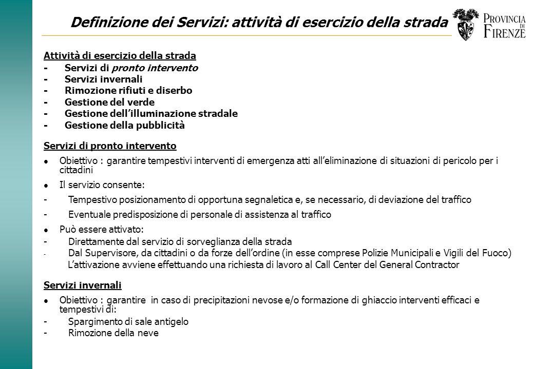 Definizione dei Servizi: servizi di governo Servizi di governo - Call Center - Gestione pannelli a messaggi variabili - Sistema Informativo - Sorvegli