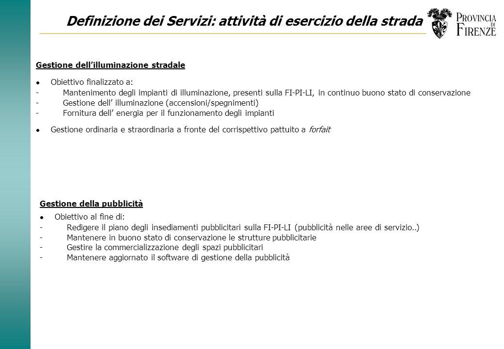 Definizione dei Servizi: attività di esercizio della strada Attività di esercizio della strada - Servizi di pronto intervento - Servizi invernali - Ri
