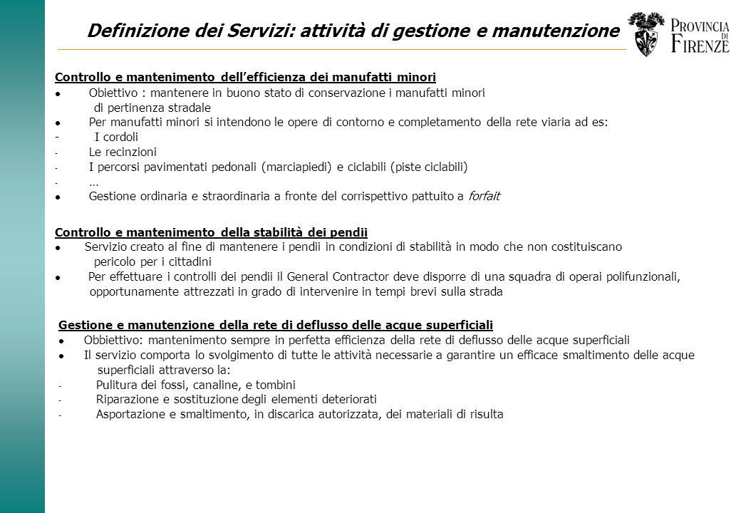 Definizione dei Servizi: attività di gestione e manutenzione Fornitura e posa in opera della segnaletica verticale l Obiettivo: mantenimento degli imp