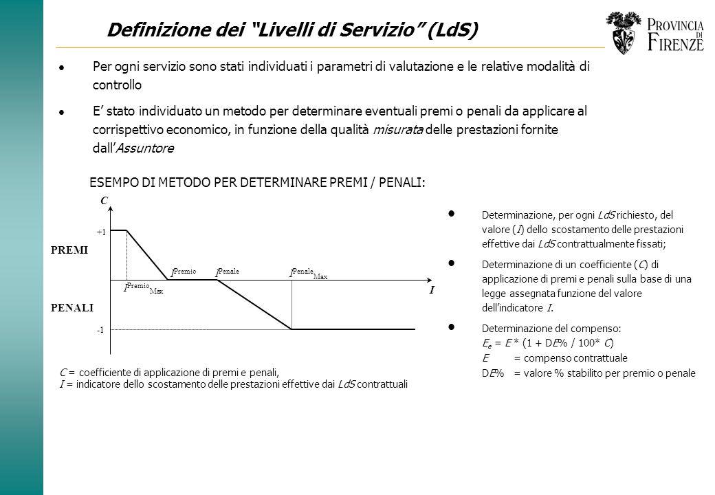 Definizione dei Servizi: attività di gestione e manutenzione Controllo e mantenimento della stabilità dei pendii l Servizio creato al fine di mantener