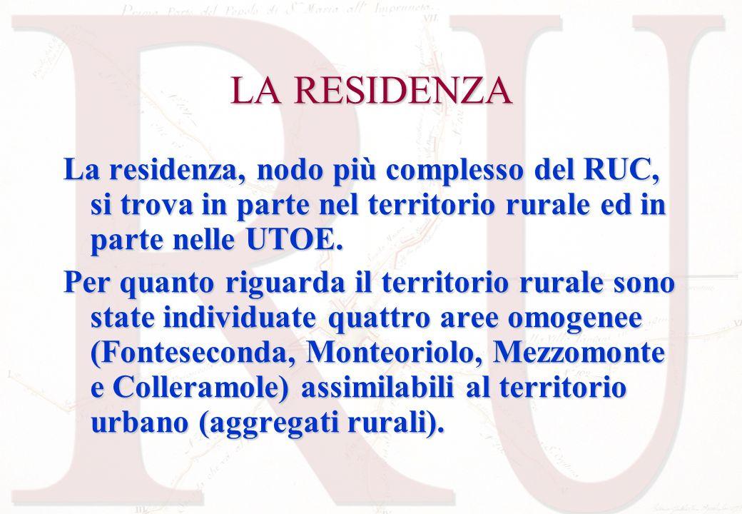 LA RESIDENZA La residenza, nodo più complesso del RUC, si trova in parte nel territorio rurale ed in parte nelle UTOE. Per quanto riguarda il territor