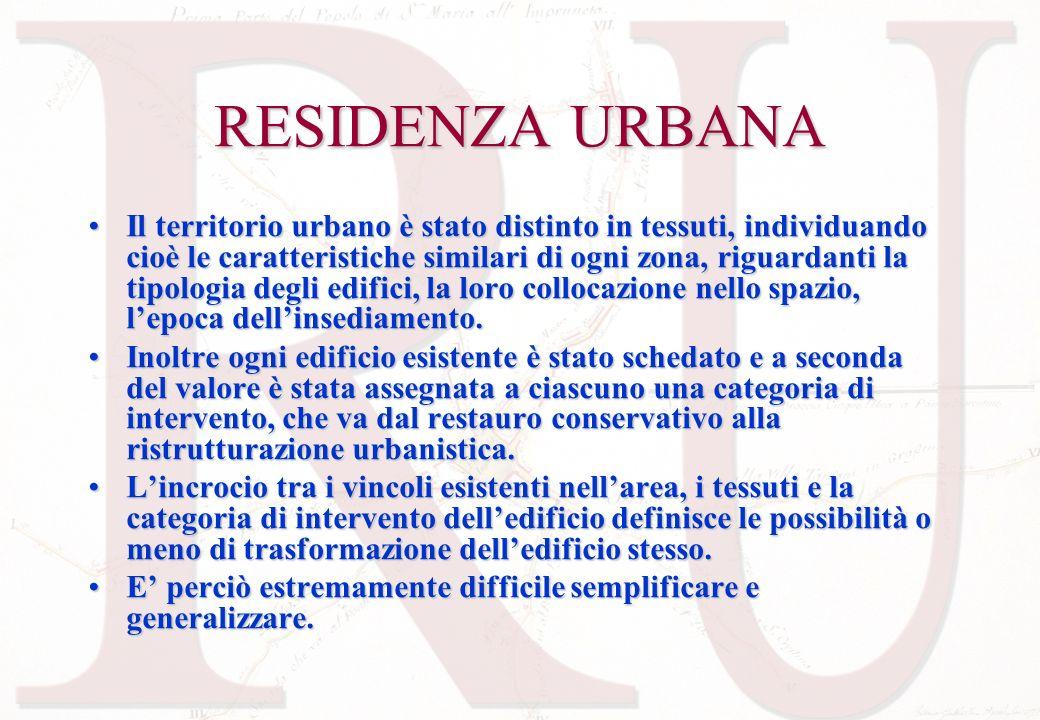 RESIDENZA URBANA Il territorio urbano è stato distinto in tessuti, individuando cioè le caratteristiche similari di ogni zona, riguardanti la tipologi