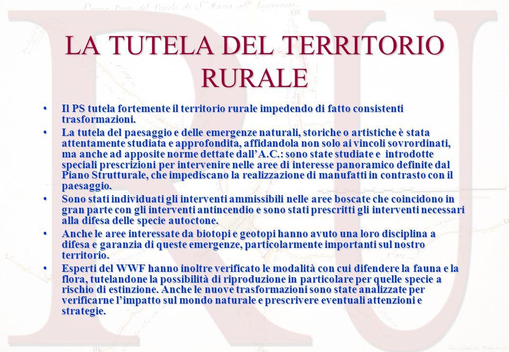 LA TUTELA DEL TERRITORIO RURALE Il PS tutela fortemente il territorio rurale impedendo di fatto consistenti trasformazioni.Il PS tutela fortemente il