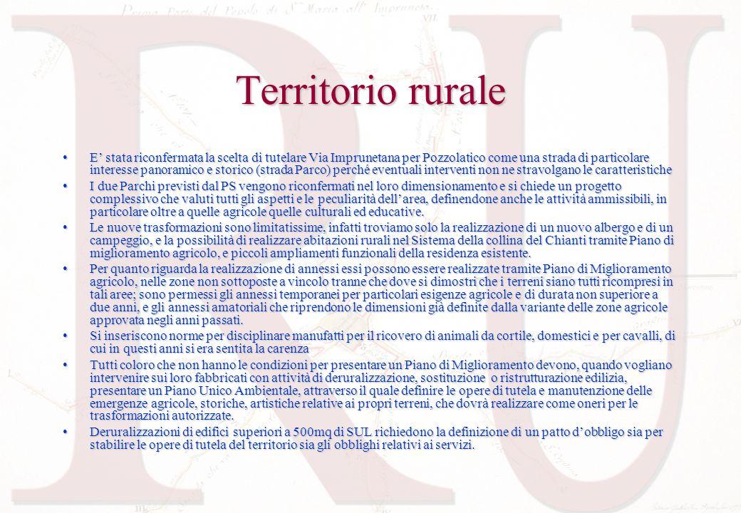Territorio rurale E stata riconfermata la scelta di tutelare Via Imprunetana per Pozzolatico come una strada di particolare interesse panoramico e sto