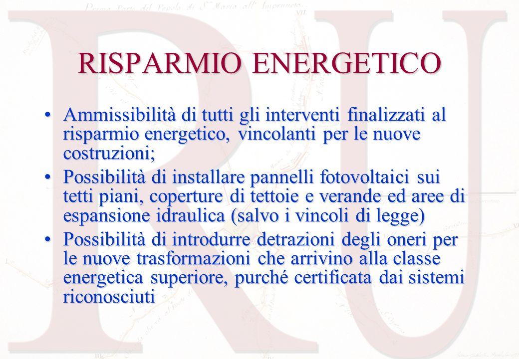 RISPARMIO ENERGETICO Ammissibilità di tutti gli interventi finalizzati al risparmio energetico, vincolanti per le nuove costruzioni;Ammissibilità di t