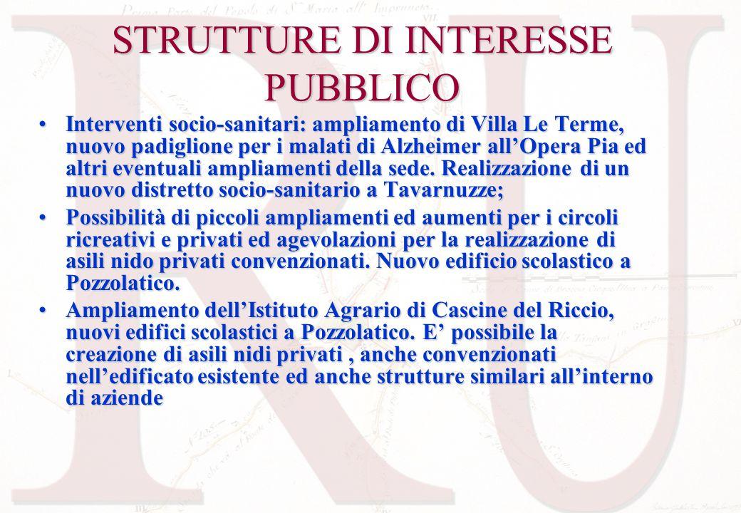 STRUTTURE DI INTERESSE PUBBLICO Interventi socio-sanitari: ampliamento di Villa Le Terme, nuovo padiglione per i malati di Alzheimer allOpera Pia ed a