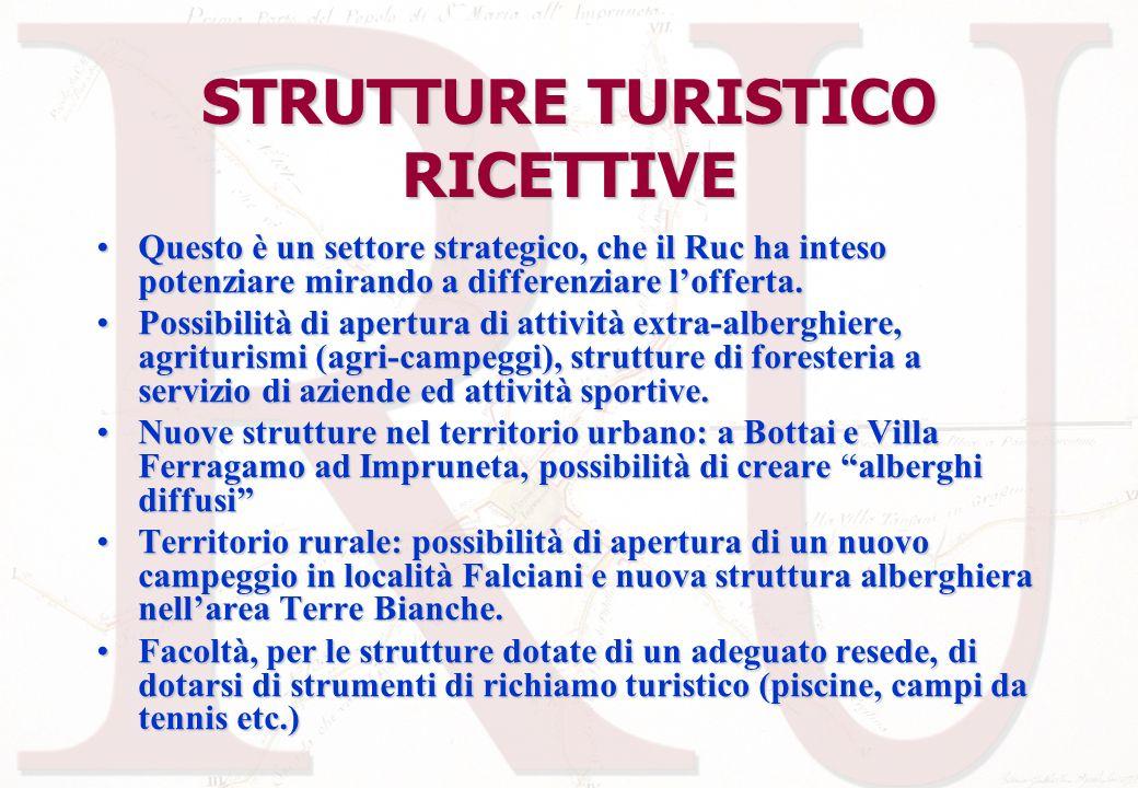 STRUTTURE TURISTICO RICETTIVE Questo è un settore strategico, che il Ruc ha inteso potenziare mirando a differenziare lofferta.Questo è un settore str
