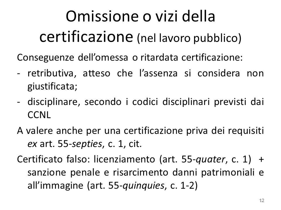 Omissione o vizi della certificazione (nel lavoro pubblico) Conseguenze dellomessa o ritardata certificazione: -retributiva, atteso che lassenza si co