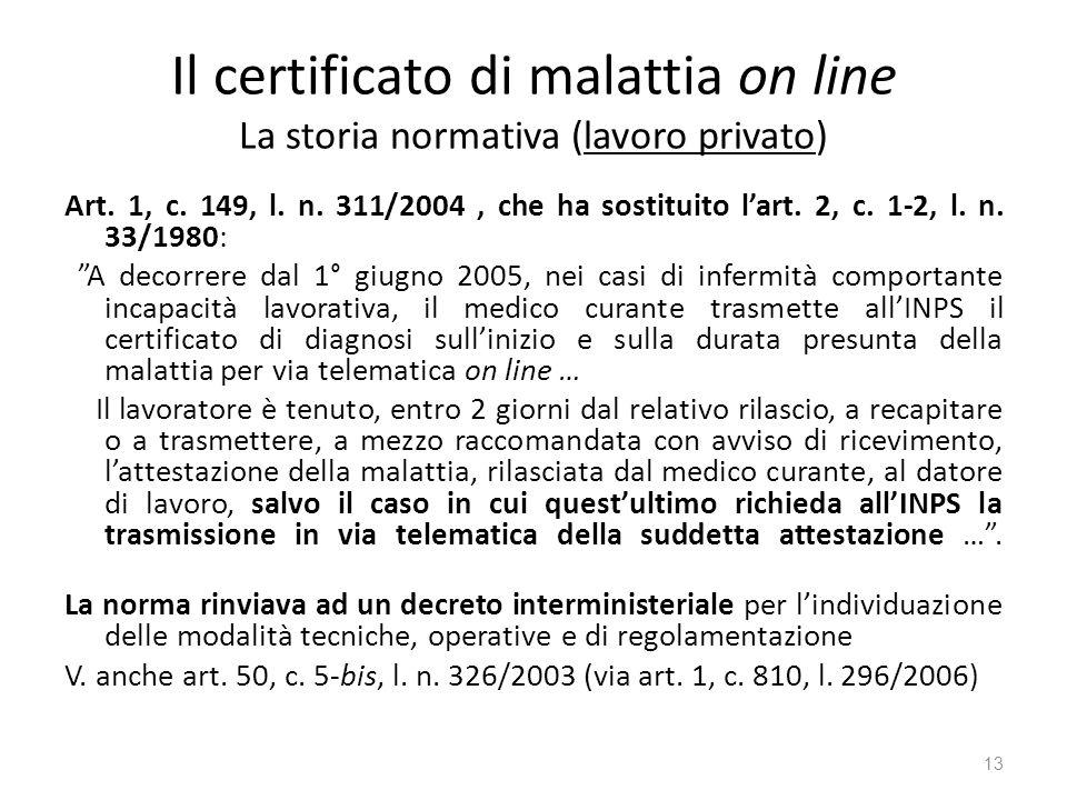 Il certificato di malattia on line La storia normativa (lavoro privato) Art. 1, c. 149, l. n. 311/2004, che ha sostituito lart. 2, c. 1-2, l. n. 33/19