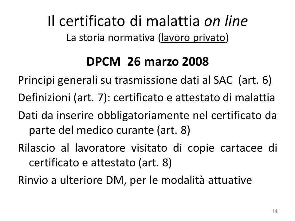 Il certificato di malattia on line La storia normativa (lavoro privato) DPCM 26 marzo 2008 Principi generali su trasmissione dati al SAC (art. 6) Defi