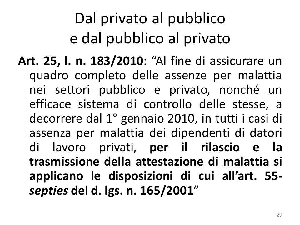 Dal privato al pubblico e dal pubblico al privato Art. 25, l. n. 183/2010: Al fine di assicurare un quadro completo delle assenze per malattia nei set