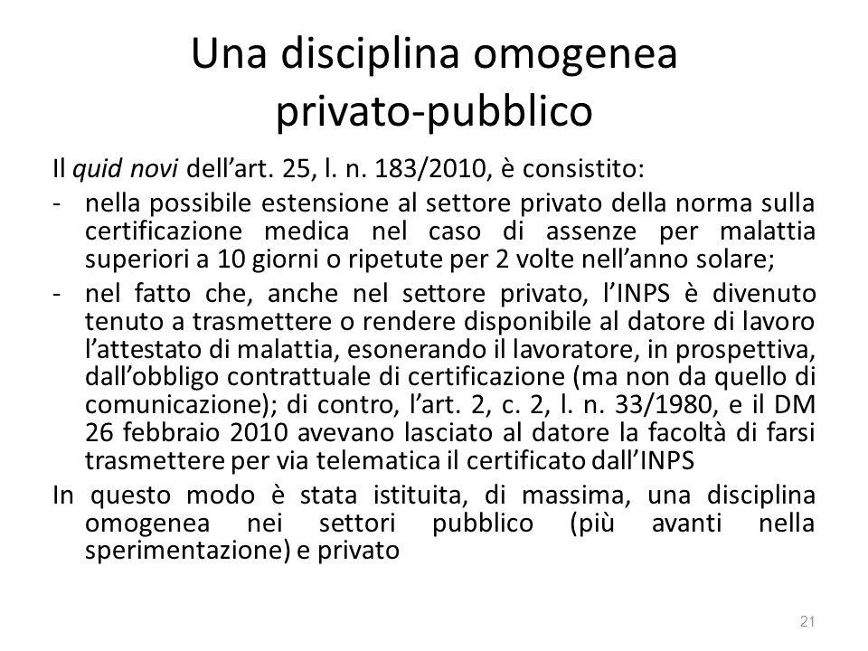 Una disciplina omogenea privato-pubblico Il quid novi dellart. 25, l. n. 183/2010, è consistito: -nella possibile estensione al settore privato della
