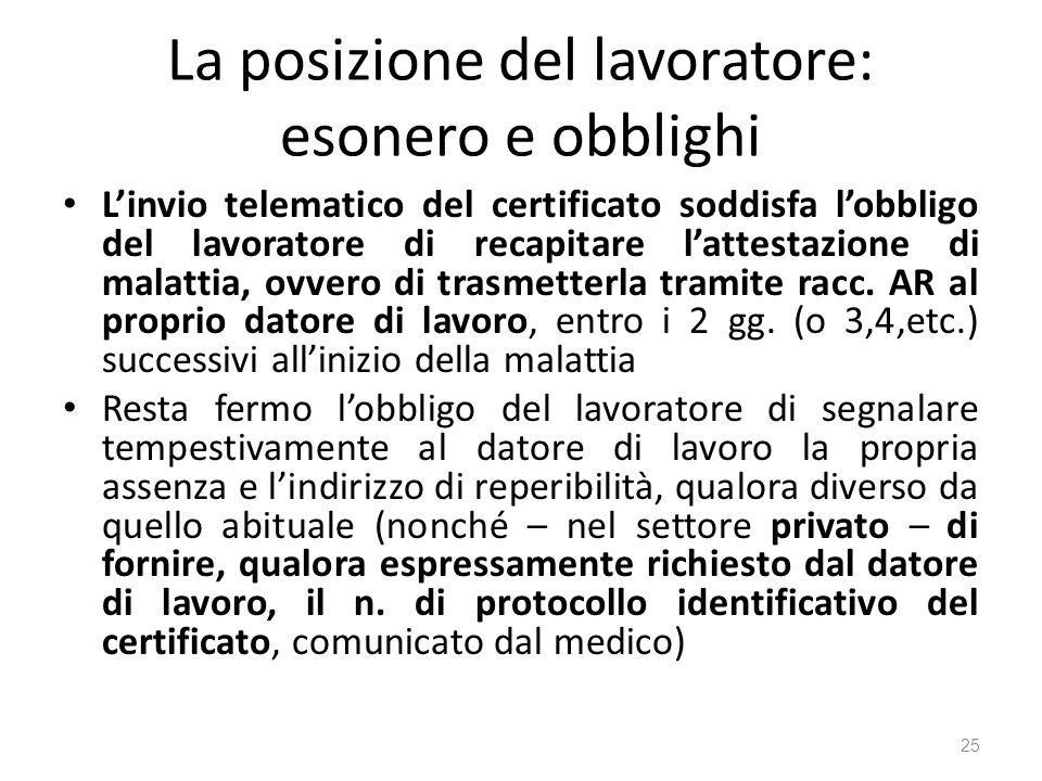 La posizione del lavoratore: esonero e obblighi Linvio telematico del certificato soddisfa lobbligo del lavoratore di recapitare lattestazione di mala