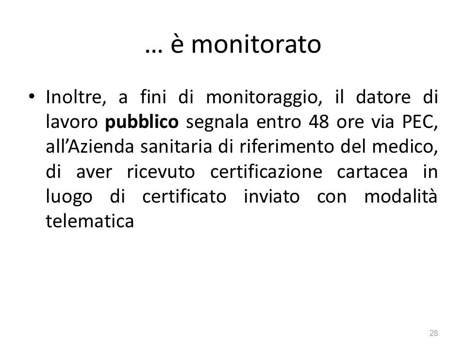 … è monitorato Inoltre, a fini di monitoraggio, il datore di lavoro pubblico segnala entro 48 ore via PEC, allAzienda sanitaria di riferimento del med