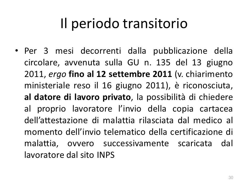 Il periodo transitorio Per 3 mesi decorrenti dalla pubblicazione della circolare, avvenuta sulla GU n. 135 del 13 giugno 2011, ergo fino al 12 settemb