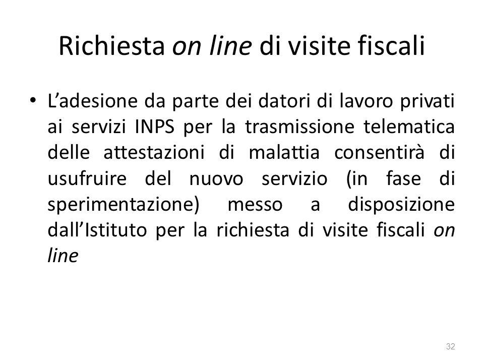 Richiesta on line di visite fiscali Ladesione da parte dei datori di lavoro privati ai servizi INPS per la trasmissione telematica delle attestazioni