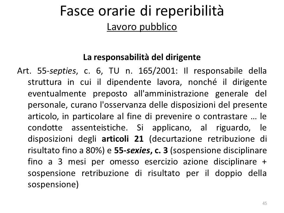 Fasce orarie di reperibilità Lavoro pubblico La responsabilità del dirigente Art. 55-septies, c. 6, TU n. 165/2001: Il responsabile della struttura in