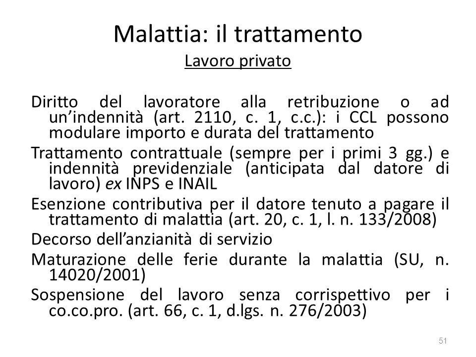 Malattia: il trattamento Lavoro privato Diritto del lavoratore alla retribuzione o ad unindennità (art. 2110, c. 1, c.c.): i CCL possono modulare impo