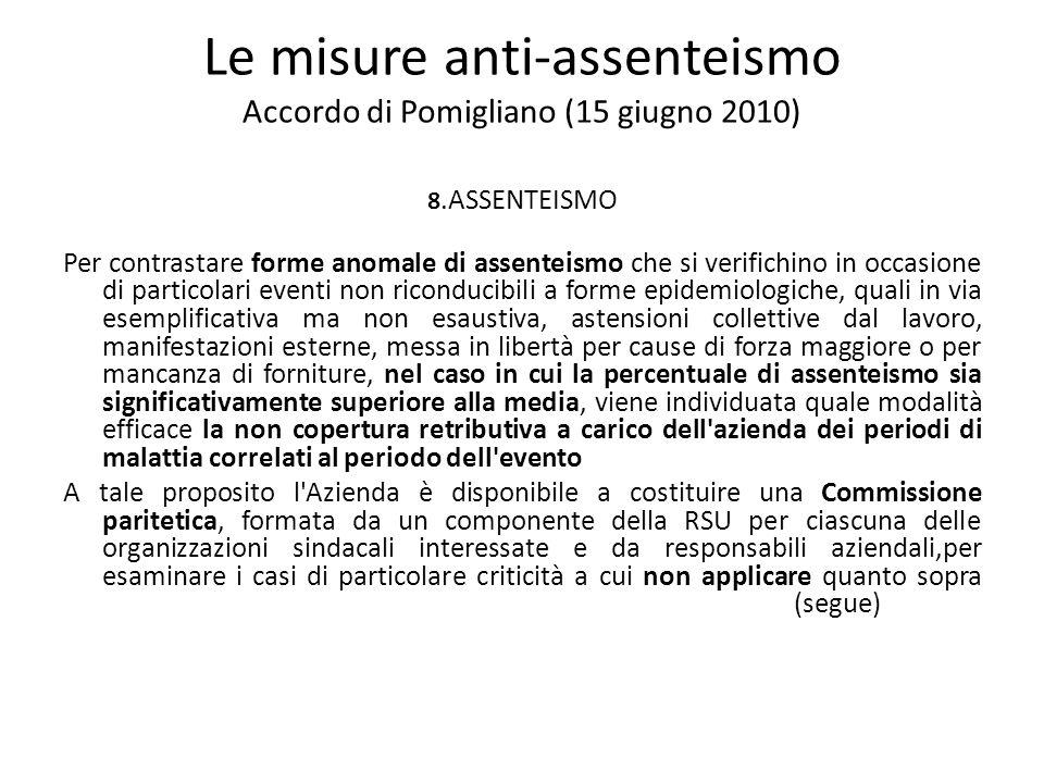 Le misure anti-assenteismo Accordo di Pomigliano (15 giugno 2010) 8.ASSENTEISMO Per contrastare forme anomale di assenteismo che si verifichino in occ