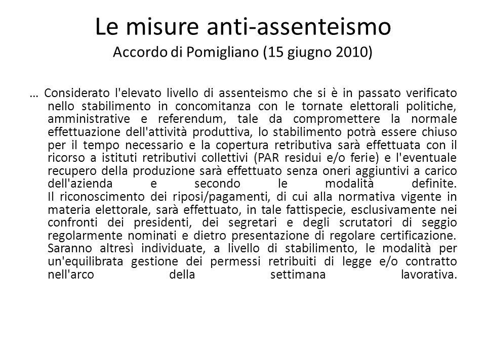Le misure anti-assenteismo Accordo di Pomigliano (15 giugno 2010) … Considerato l'elevato livello di assenteismo che si è in passato verificato nello