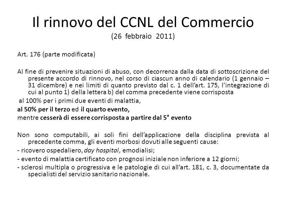 Il rinnovo del CCNL del Commercio (26 febbraio 2011) Art. 176 (parte modificata) Al fine di prevenire situazioni di abuso, con decorrenza dalla data d