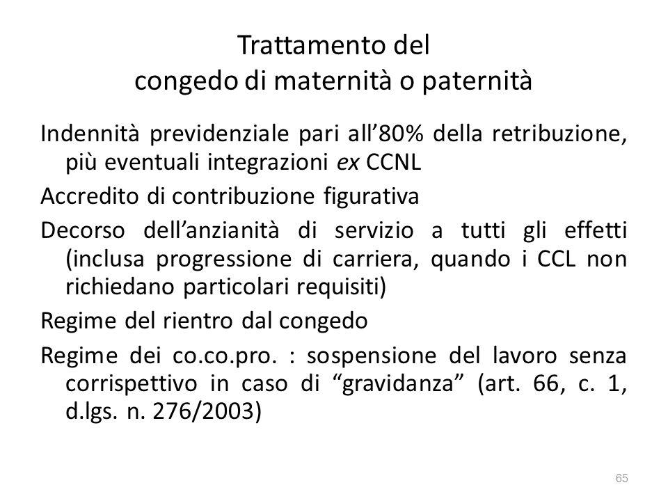 Trattamento del congedo di maternità o paternità Indennità previdenziale pari all80% della retribuzione, più eventuali integrazioni ex CCNL Accredito