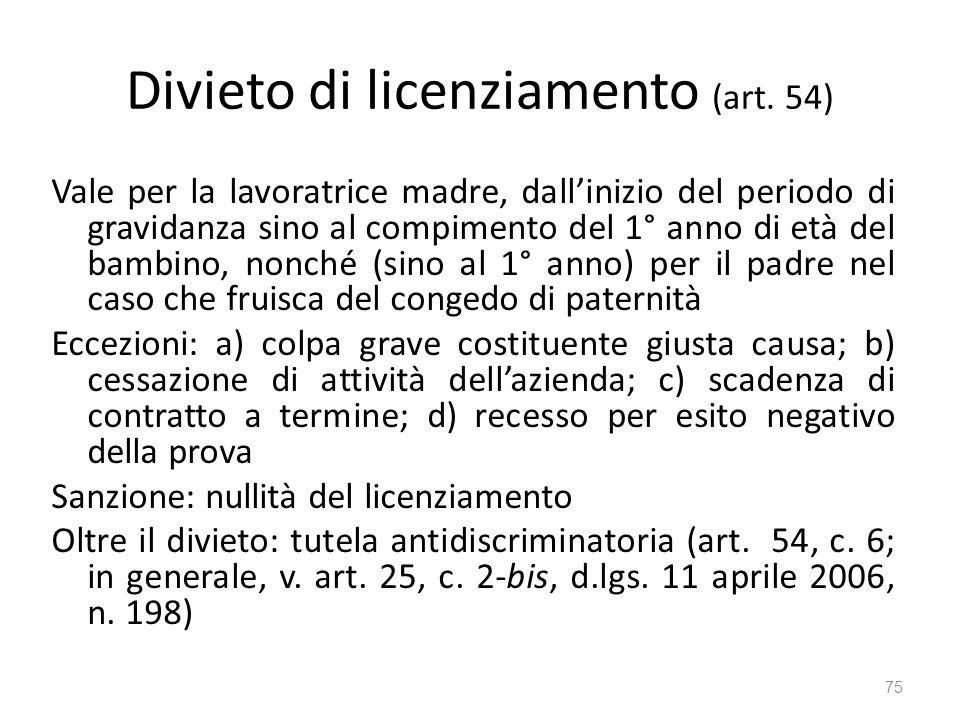 Divieto di licenziamento (art. 54) Vale per la lavoratrice madre, dallinizio del periodo di gravidanza sino al compimento del 1° anno di età del bambi
