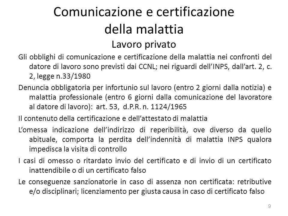Comunicazione e certificazione della malattia Lavoro privato Gli obblighi di comunicazione e certificazione della malattia nei confronti del datore di