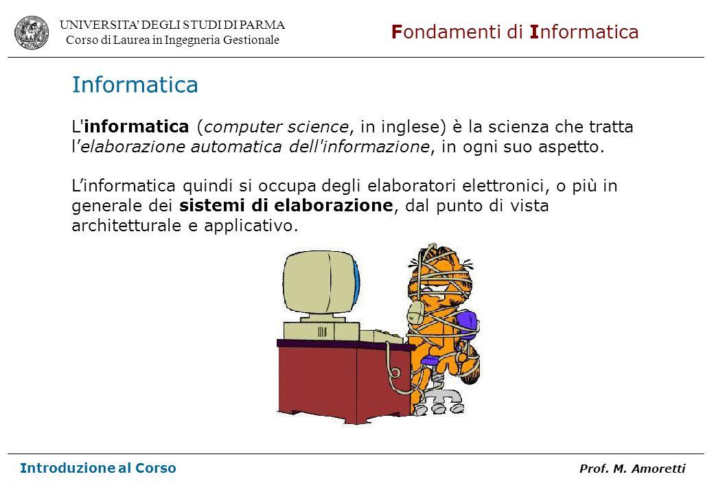 UNIVERSITA DEGLI STUDI DI PARMA Corso di Laurea in Ingegneria Gestionale Fondamenti di Informatica Introduzione al Corso Prof. M. Amoretti Informatica