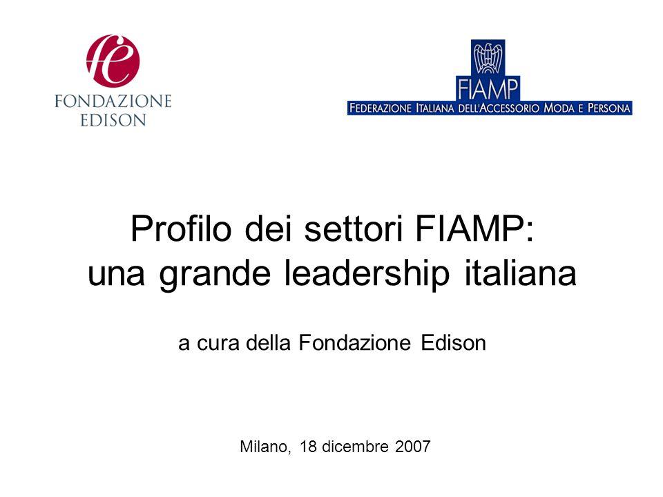 Profilo dei settori FIAMP: una grande leadership italiana a cura della Fondazione Edison Milano, 18 dicembre 2007