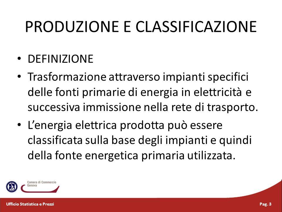 PRODUZIONE E CLASSIFICAZIONE DEFINIZIONE Trasformazione attraverso impianti specifici delle fonti primarie di energia in elettricità e successiva immi
