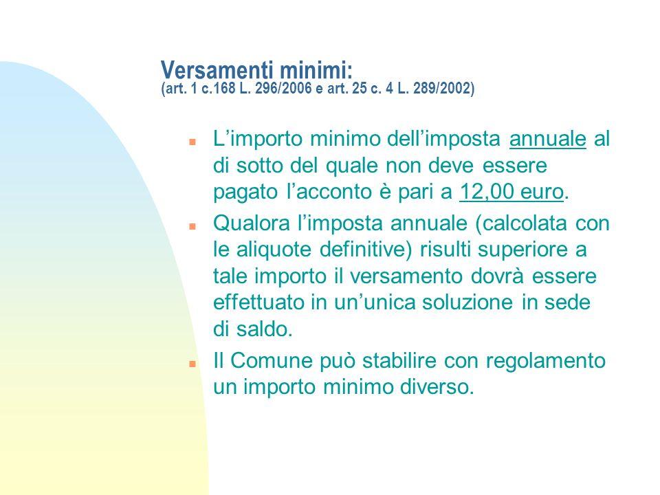 Versamenti minimi: (art. 1 c.168 L. 296/2006 e art. 25 c. 4 L. 289/2002) n Limporto minimo dellimposta annuale al di sotto del quale non deve essere p