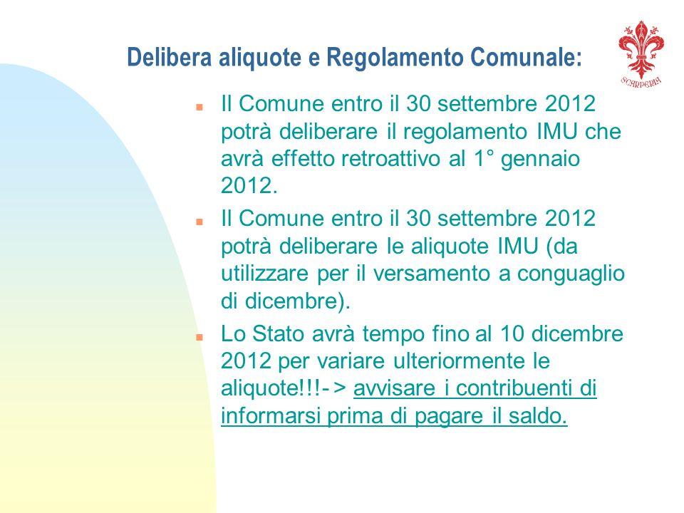 Delibera aliquote e Regolamento Comunale: n Il Comune entro il 30 settembre 2012 potrà deliberare il regolamento IMU che avrà effetto retroattivo al 1