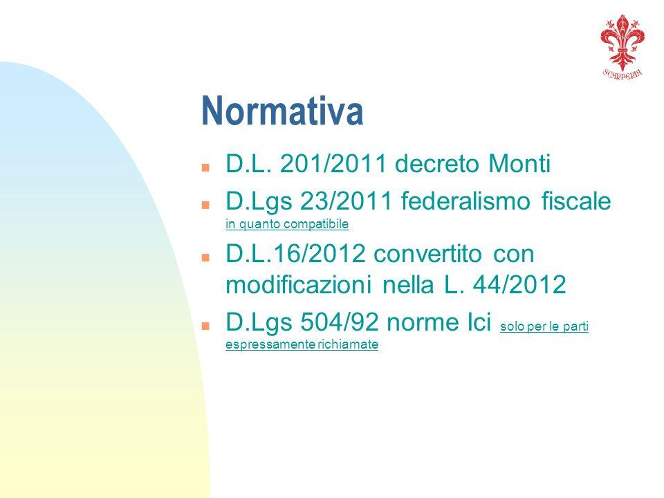 Normativa n D.L. 201/2011 decreto Monti n D.Lgs 23/2011 federalismo fiscale in quanto compatibile n D.L.16/2012 convertito con modificazioni nella L.
