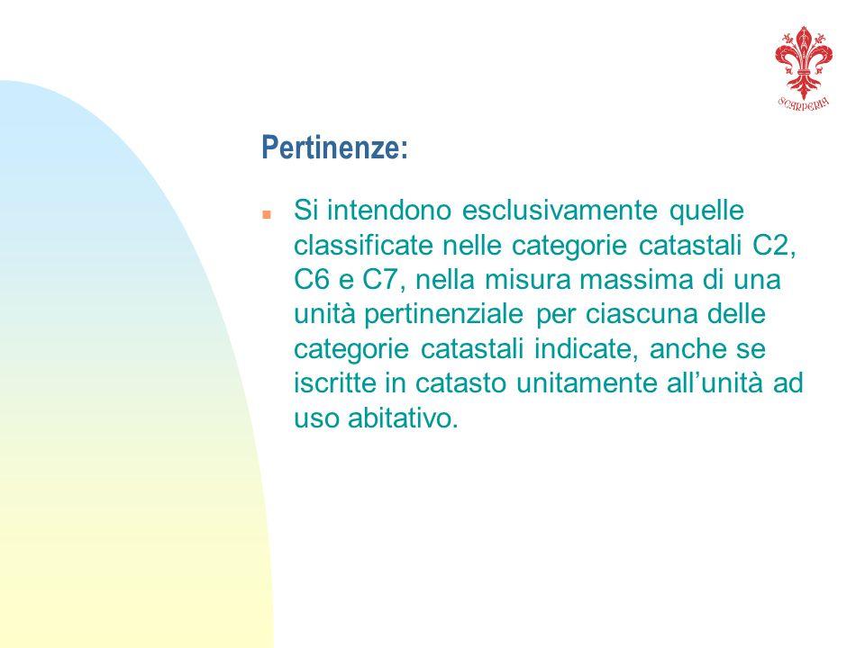 Pertinenze: n Si intendono esclusivamente quelle classificate nelle categorie catastali C2, C6 e C7, nella misura massima di una unità pertinenziale p