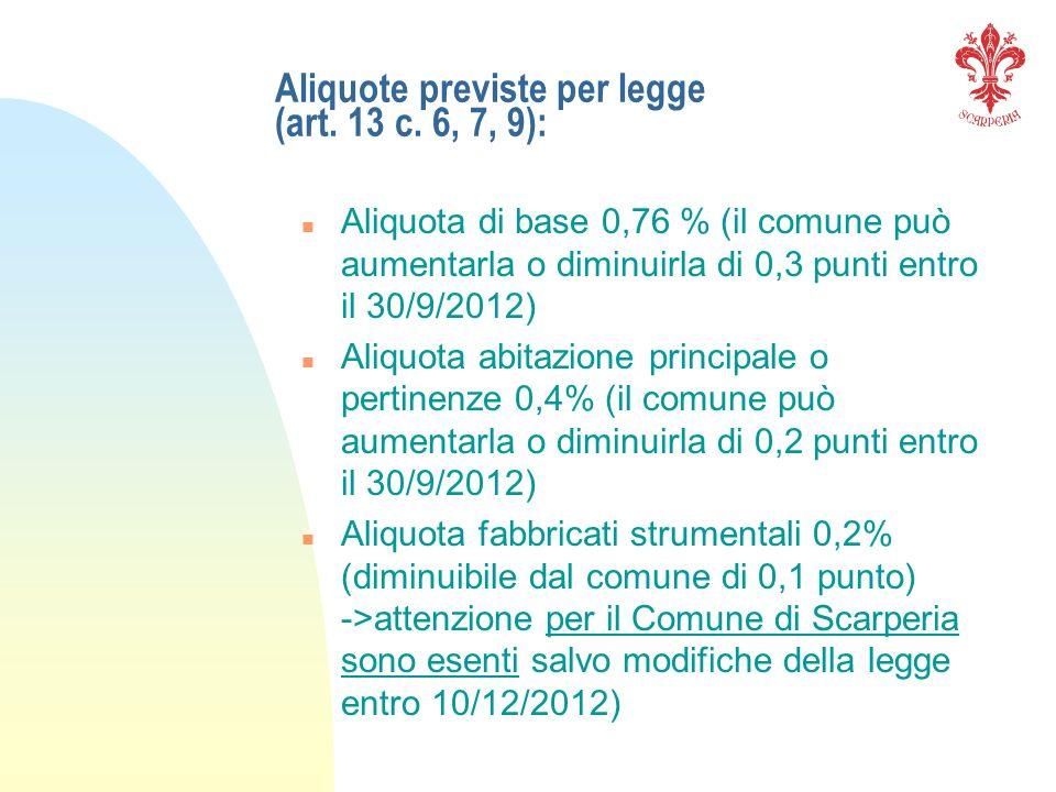 Aliquote previste per legge (art. 13 c. 6, 7, 9): n Aliquota di base 0,76 % (il comune può aumentarla o diminuirla di 0,3 punti entro il 30/9/2012) n
