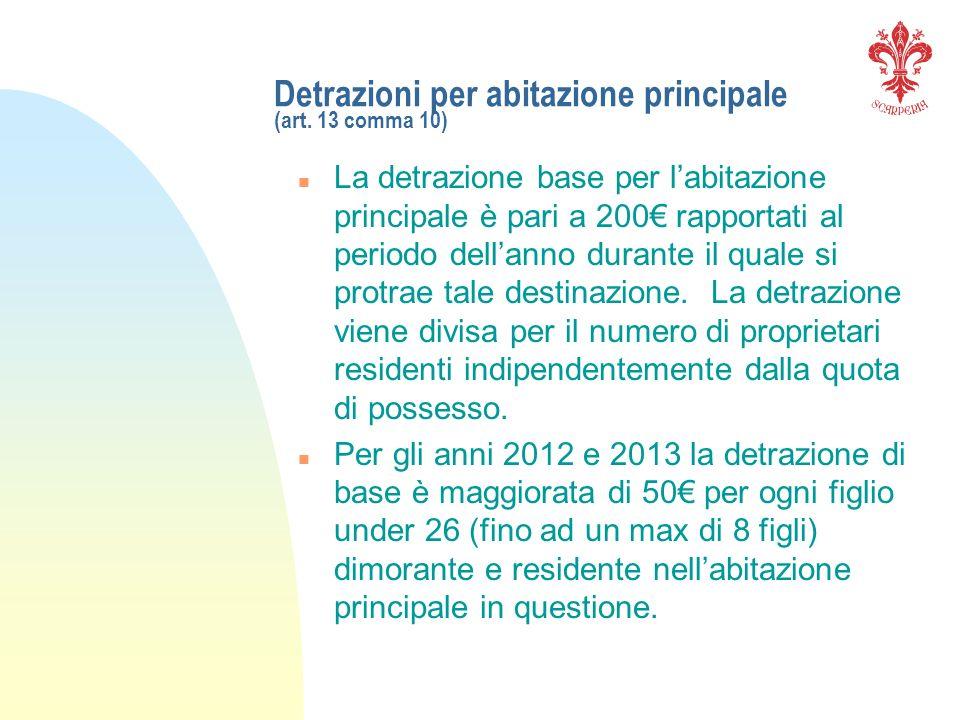Detrazioni per abitazione principale (art. 13 comma 10) n La detrazione base per labitazione principale è pari a 200 rapportati al periodo dellanno du