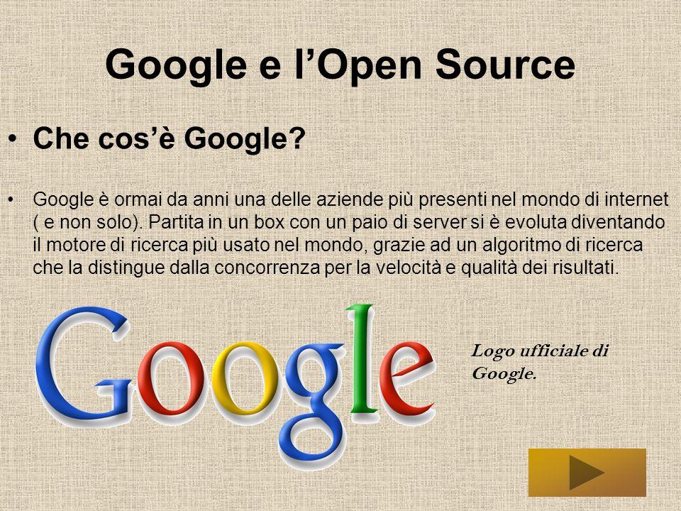 Google e lOpen Source Google è un software Open.