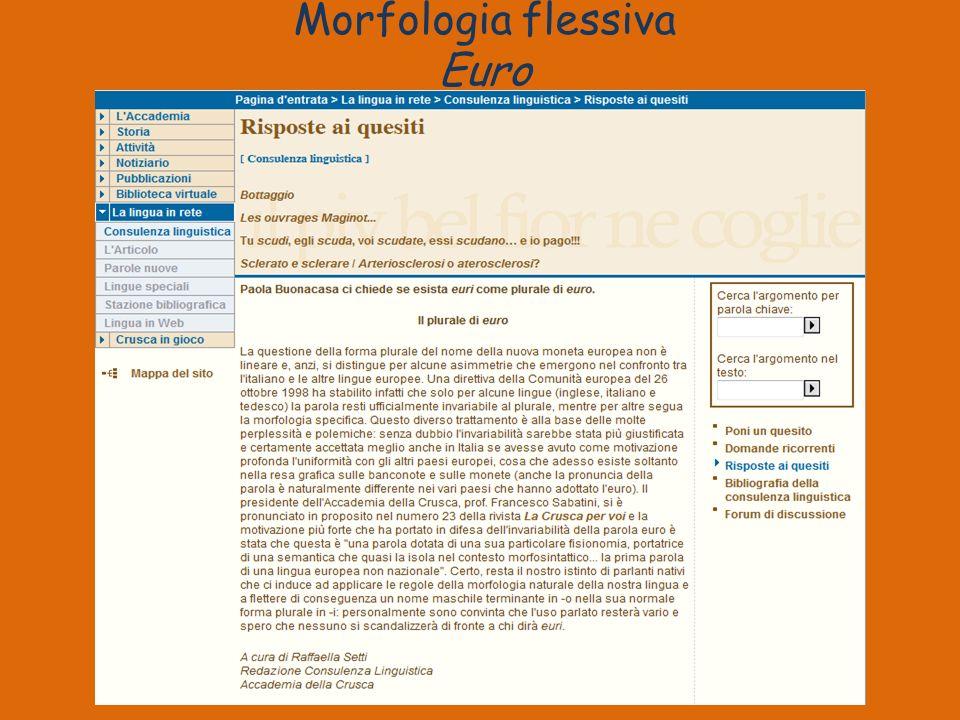 Morfologia flessiva Euro
